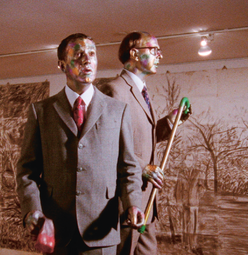 Gilbert & George, The Singing Sculpture, 1992. Produced & directed by Philip Haas, Sonnabend + Methodact, New York. Photo: © Gilbert & George. Courtesy White Cube.PNG